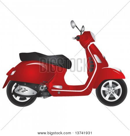 red scooter vector