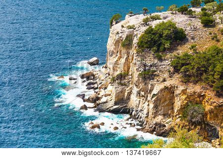 Panorama of seascape waves and and rocky cliff coast line in Thassos Island, Greece