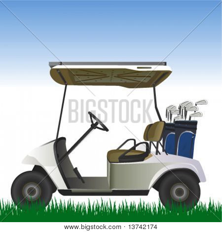 golf cart in the field vector