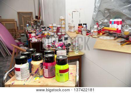 Artist's Studio. Acrylic paints closeup selective focus