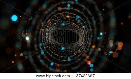 3d rendering twirl particle background with depth of field and glow elements