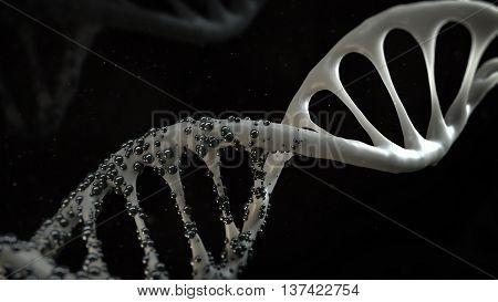 3d medical render infected dna helix concept