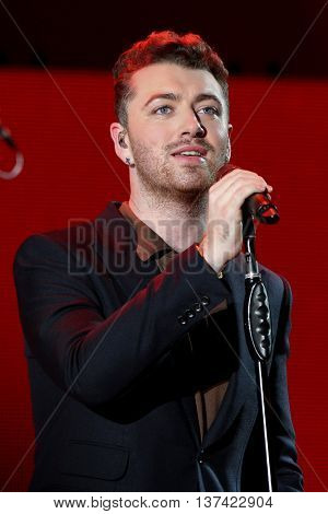 HOLLYWOOD, CA-OCT 24: Recording artist Sam Smith performs onstage during CBS RADIOs 3rd annual We Can Survive presented by Chrysler, at the Hollywood Bowl on October 24, 2015 in Hollywood, California.