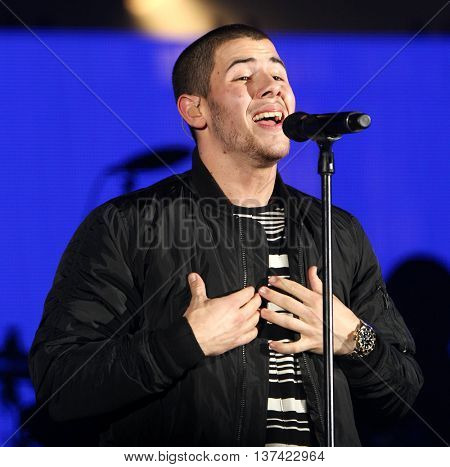 HOLLYWOOD, CA-OCT 24: Nick Jonas performs onstage during CBS RADIOs third annual We Can Survive, presented by Chrysler, at the Hollywood Bowl on October 24, 2015 in Hollywood, California.