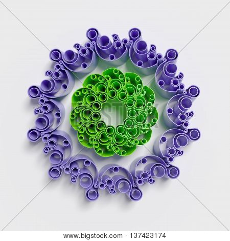 circular patterns background with smooth 3d rendering extruded shapes
