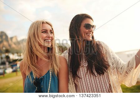 Cheerful Young Female Friends Together On A Beach