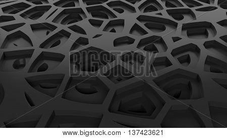 abstract 3d rendering glossy reflective surface with noise pattern that forms highs and lows zones