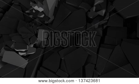 abstract 3d rendering background fractured surface with random sized pieces