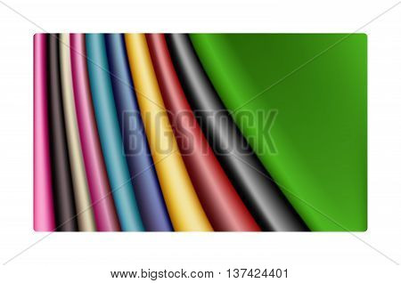 Set of colourful satin swatches. Vector illustration