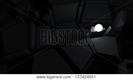 abstract 3d rendering labyrinth with bright glow sphere finding way of problem solving concept