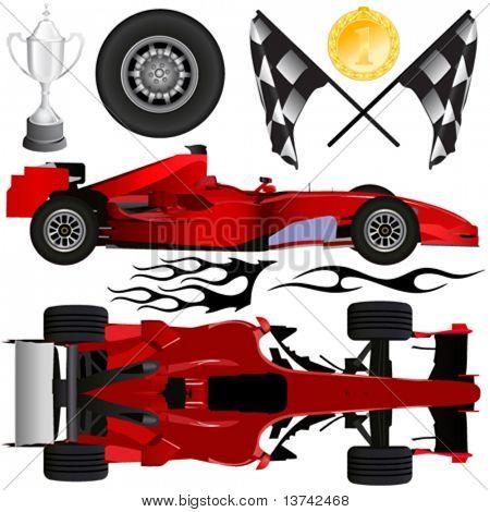 fórmula coche y objetos vector