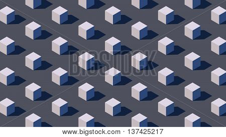 isometric geometry background with 3d rendering primitives and hard shadow