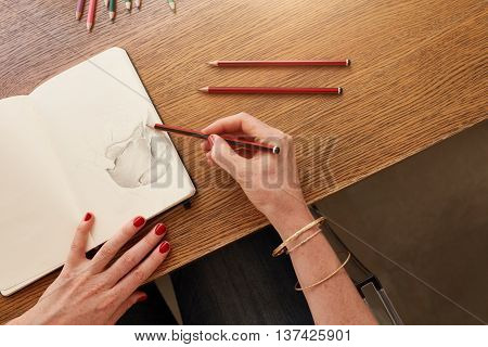 Female Artist Working With Pencil Sketch