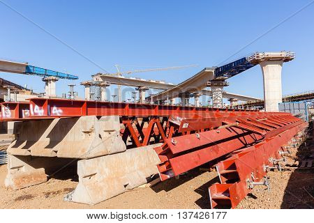 Industrial construction road highway new traffic intersection junction flyover ramps construction of concrete steel design.