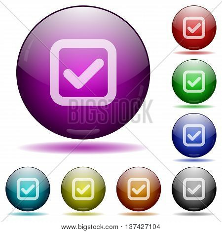 Set of color checkbox glass sphere buttons with shadows.