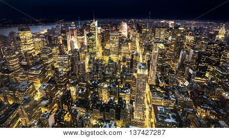 New York City skyline at night, wide angle view