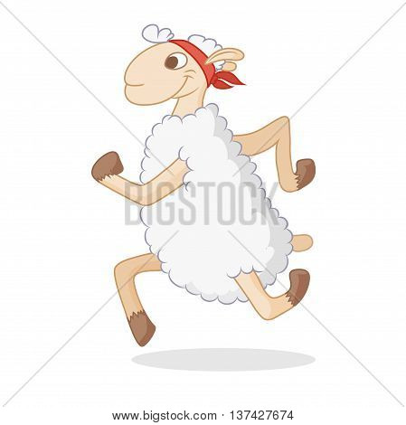 Cartoon sheep. Vector illustration of cute animal. doodle sheep