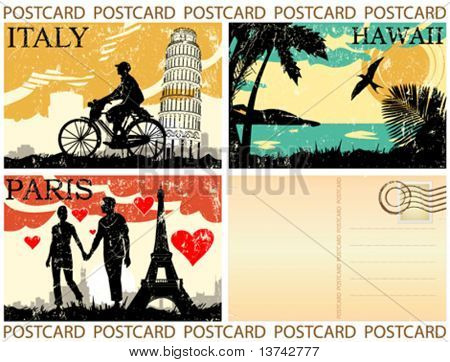 postcard great set vector