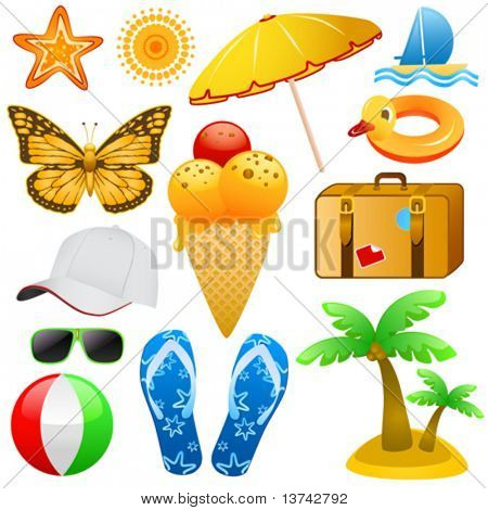 summer and travel objects vector