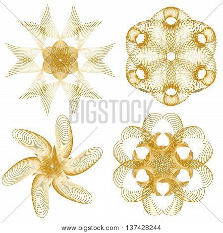 Beautiful golden ornament collection over white background