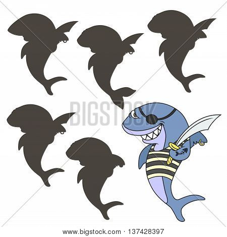 Cartoon pirate shark. Find the right shadow image. Educational games for kids.Vector stock illustration