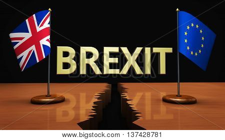 Brexit concept with sign and Union Jack and EU flag separated on a broken desk 3D illustration.