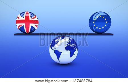 Brexit British referendum concept with UK and EU flag balls balancing on world map globe 3D illustration.