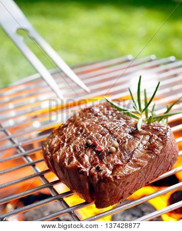 Grilled beef steak on the grilling pan outdoors
