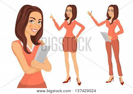 Portrait Of Beautiful Woman Standing With Arms Folded. Business Girl. Young Women In Elegant Office