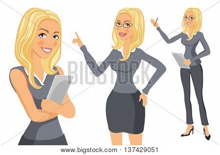Business Woman Blonde. Girl. Young Women In Elegant Office Clothes Art Vector
