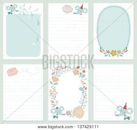 Set of 6 creative journaling cards with floral wreath, baby elephant, decorative flowers, bird, fish and lettering. Template for scrapbooking, notebook, wrapping, diary and children's party printable cards. Vector illustration.