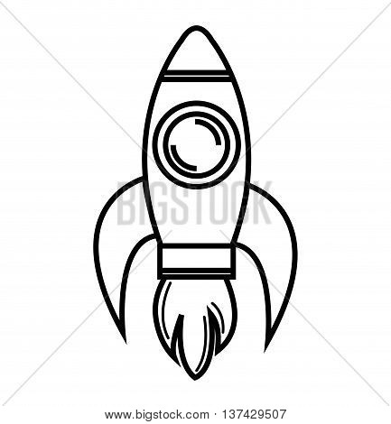 Rocket spaceship flying, isolated flat icon vector illustration graphic.