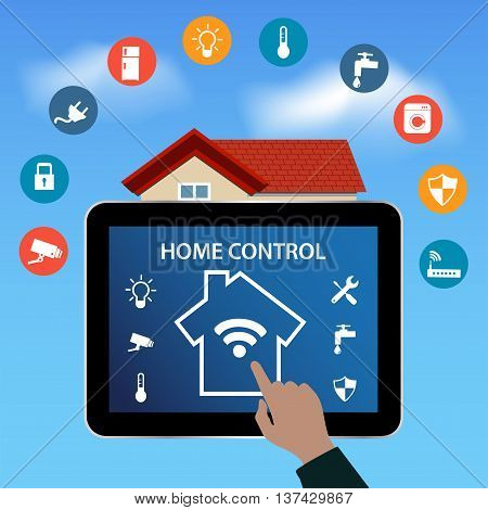 Modern digital Tablet PC with Smart House Apps. Internet of things concept .Controlling your home appliances with tablet Apps .Smart House technology system with centralized control.Internet of things