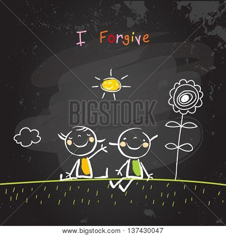 Positive affirmations for kids, motivational, inspirational concept vector illustration. I am forgiving text, typography. Chalk sketch on blackboard hand drawn doodle, scribble.