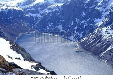 Panorama Of The Lake And Snow-capped Mountains