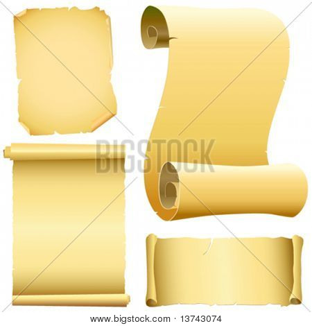 set of old papers vector