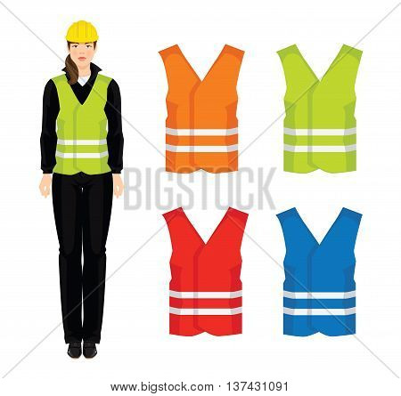 Vector illustration of different color safety waistcoat isolated on white background.