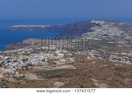 Amazing panorama of Santorini island, Thira, Cyclades, Greece