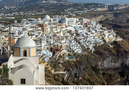Amazing panorama to town of Fira and Prophet Elias peak, Santorini island, Thira, Cyclades, Greece