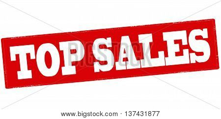 Rubber stamp with text top sales inside vector illustration