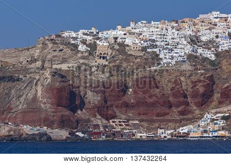 Amazing landscape to Oia town from the sea, Santorini island, Cyclades, Greece