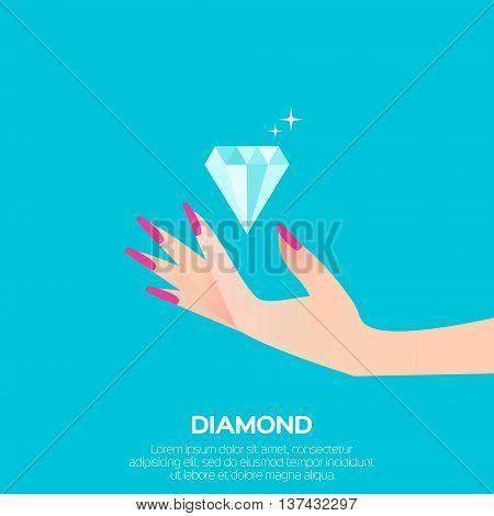 Big shining diamond and elegant women's hand. Wedding concept. Marriage proposal. Design vector illustration.