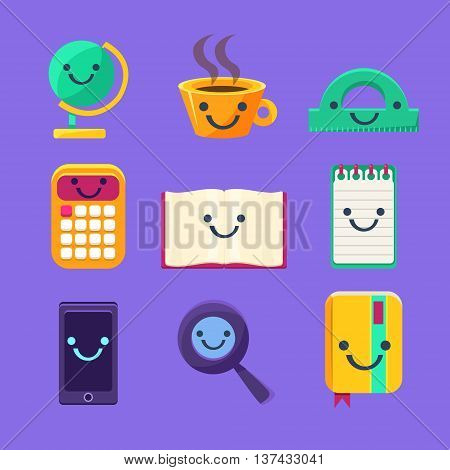 Office Desk Supplies Set Of Characters In Primitive Childish Cartoon Flat Vector Design Isolated On Blue Background