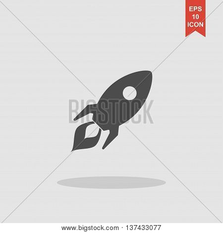 Rocket Icon. Flat Design Style.