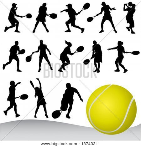 set of tennis player vector