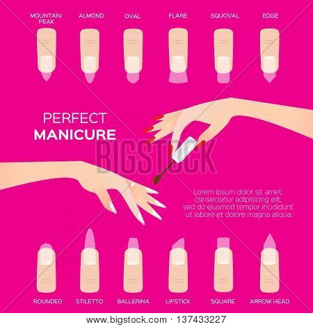 Different nail shapes. Woman fingers. Fingernails fashion trends on pink background. Vector design illustration