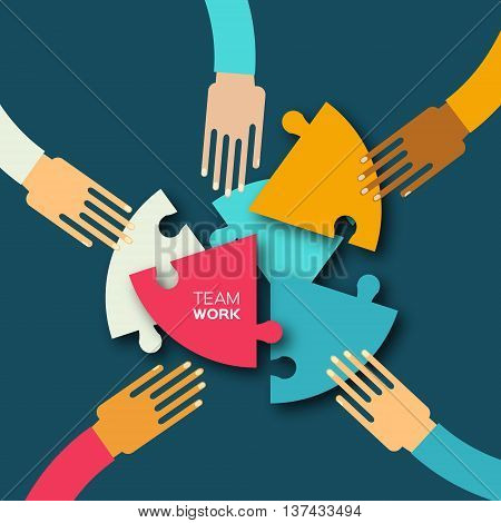 Five hands together team work. Hands putting circle puzzle pieces. Teamwork and business concept. Hands of different colors cultural and ethnic diversity. Vector illustration