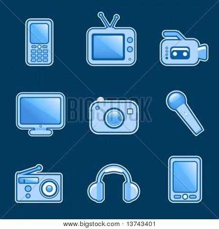 set of media icon vector