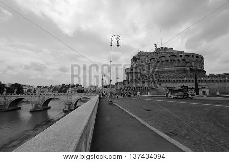the Ancient bridge on Tiber river