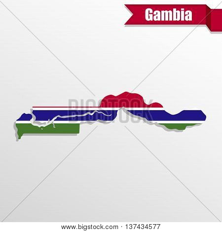 Gambia map with flag inside and ribbon